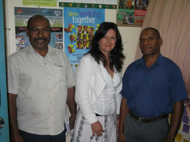 L-R Sgt Tinol Papiapon, head of the Sexual Offences Unit at Boroko Police Station with Professor Taylor and SC Smith Morakis. By invitation Professor Taylor undertook site visits and meetings with PNG police to provide assistance and advice regarding crimes of sexual violence against women and children.