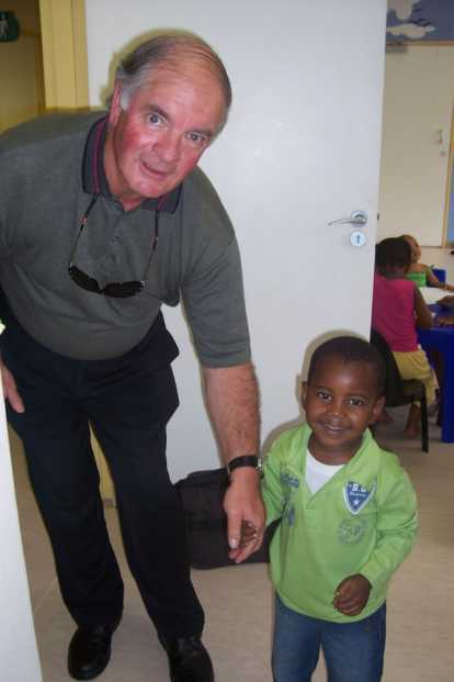 Daniel Torpy, CoP Board Member meeting with children at a special child accommodation unit in Johannesburg.
